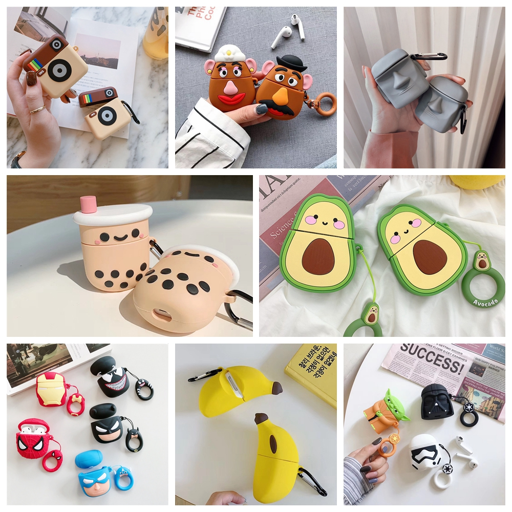 For AirPods Case Cute Cartoon Avocado Boba Tea Protective Cover Wireless Earphone Case For Air Pods 2 Headphone Case Bags Box