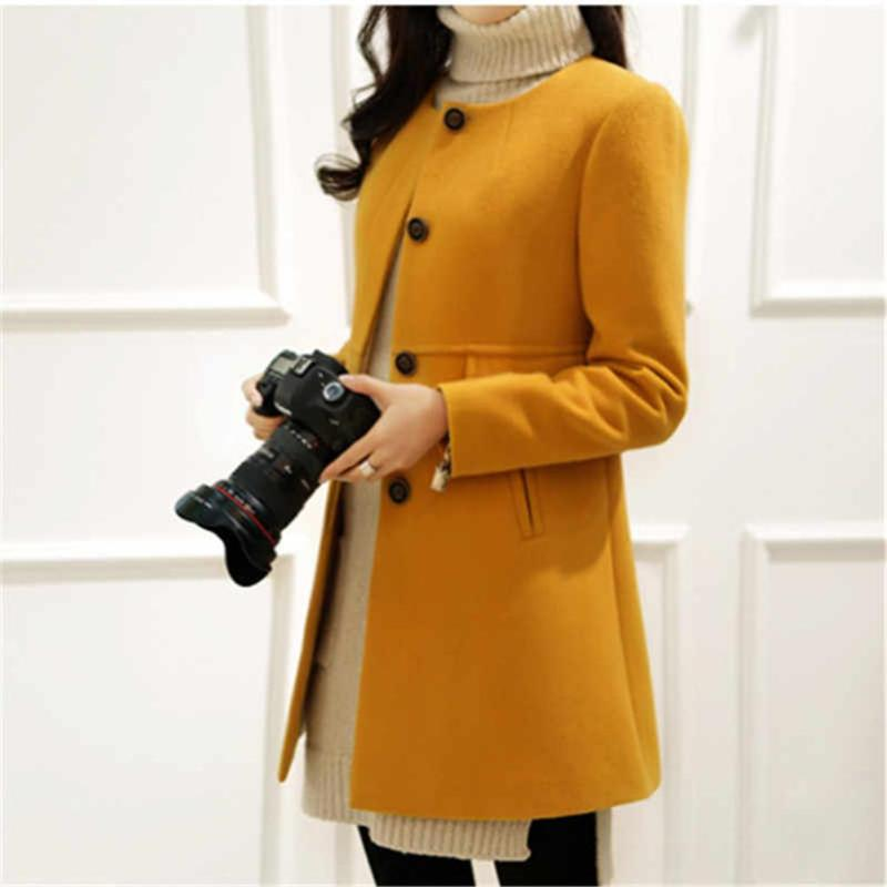 Plus Size Solid Color Overcoat A-shaped Long Sleeve Coat Women Outwear 30