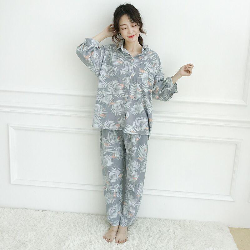 Image 2 - Womens Pajamas Sets Autumn Cotton Flamingo Lapel Top + Long Pant 2 Piece Sets Pajamas Set For Women Sleepwear Girls Pyjamas SuitPajama Sets   -