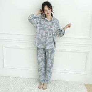 Image 2 - Womens Pajamas Sets Autumn Cotton Flamingo Lapel Top + Long Pant 2 Piece Sets Pajamas Set For Women Sleepwear Girls Pyjamas Suit