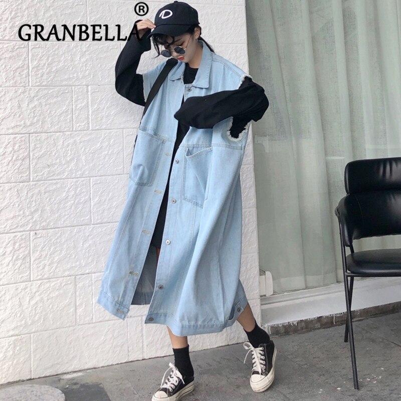 2019 Fashion Sleeveless Denim   Trench   Waistcoat Korean Style Long Women   Trench   Coat Chic Turn-Down Collar Coats
