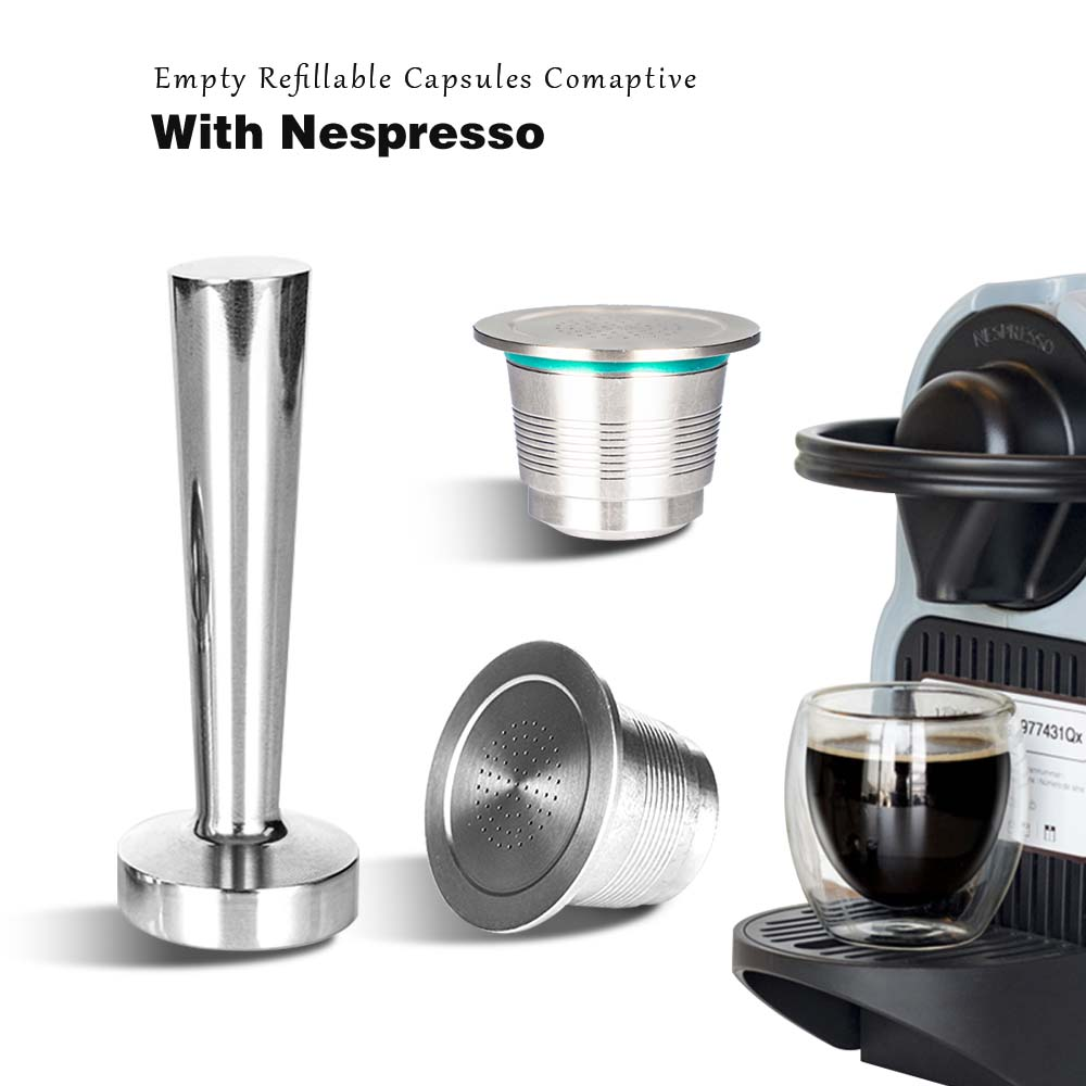 Rechargeable Reusable Nespresso Empty Coffee Capsule Inox Stainless Steel Refillable DIY NESPRESSO Coffee Pod Filter Tamper Set(China)