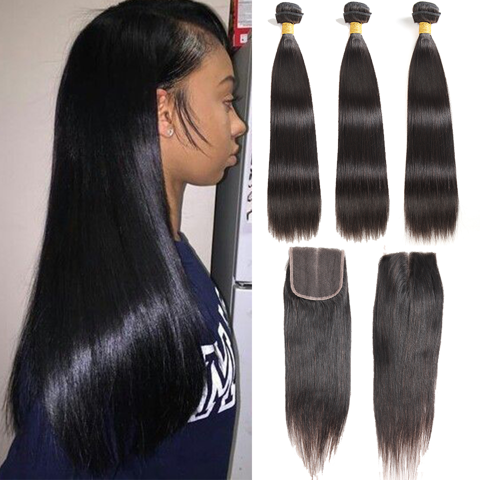 Malaysian Hair Bundles With Closure Straight Hair Bundles Non Remy 100% Real Human  Hair Natural Color