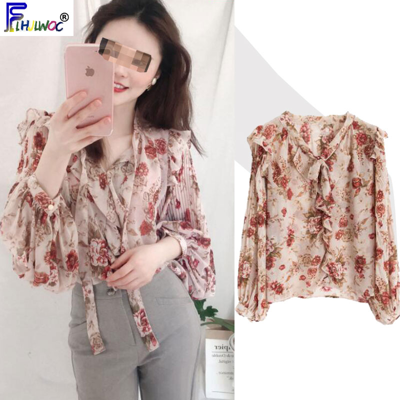 2020 Spring Women Cute Sweet Bow Tie Tops Korea Japanese Preppy Style Temperament Vintage Floral Basic Shirts Blouses 2500
