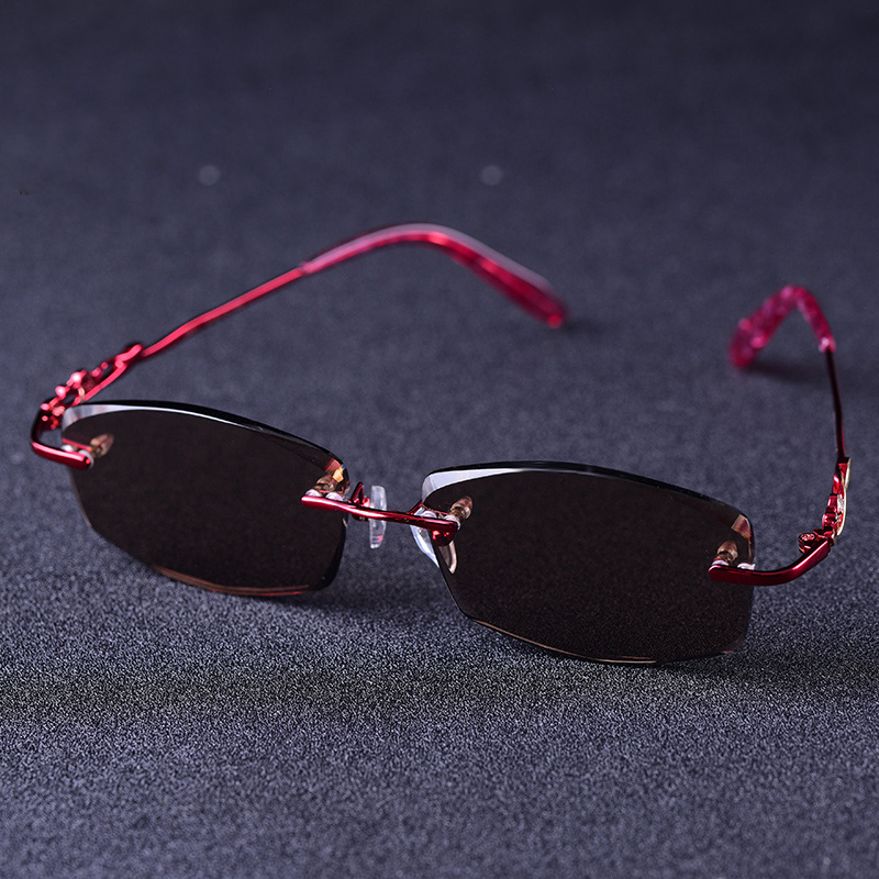 Fashion Glass Sunglasses Women Rimless Sun Glasses for Woman Brown Crystal Lens Anti Reflection Anti Eye Dry Ladies Shades