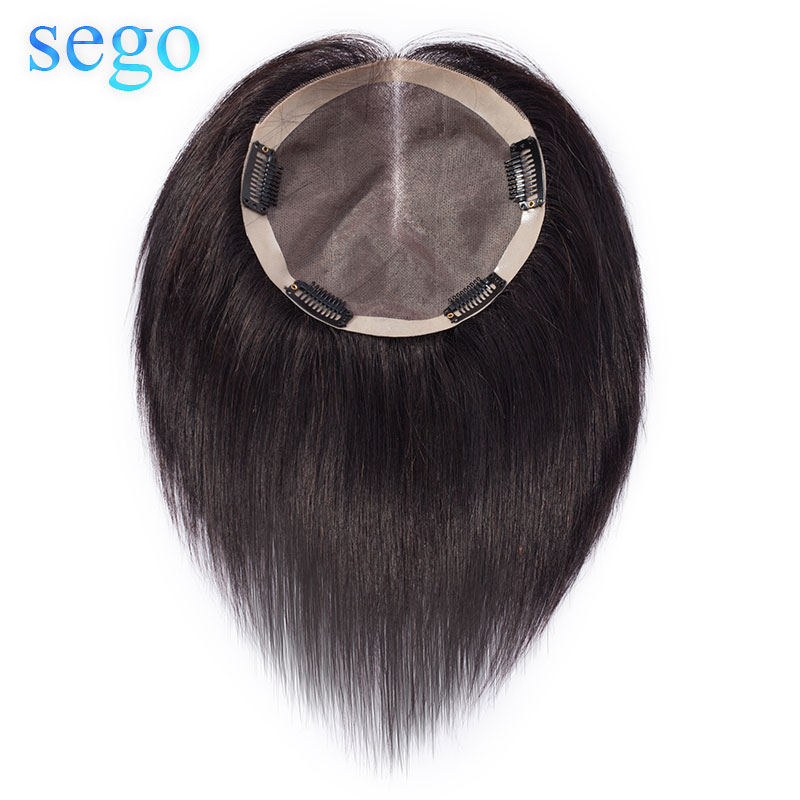 SEGO 15x15cm Straight Mono Hair Topper Toupee For Women Natural Real Human Hairpiece Hair Clip Non-Remy Wig Toupee 150% Density
