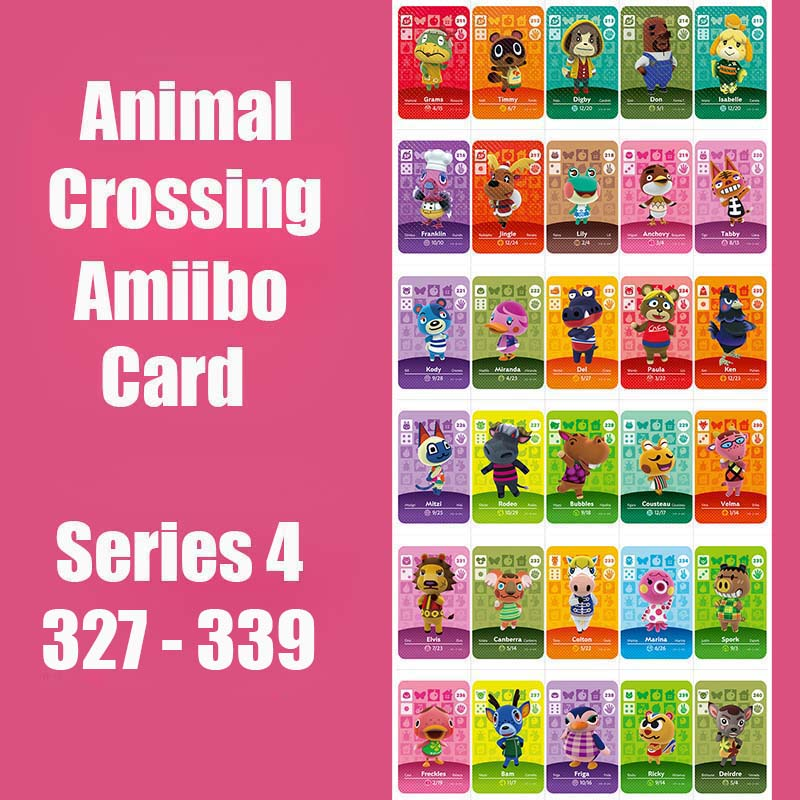 Series 4 (327 To 339) Animal Crossing Card Amiibo Card Locks Nfc Card Work For Switch NS 3DS Games Animal Crossing Amiibo Card