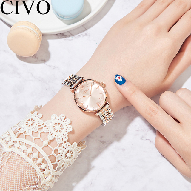 CIVO Luxury Crystal Watch Women Waterproof Rose Gold Steel Strap Ladies Wrist Watches Top Brand Bracelet Clock Relogio Feminino 1