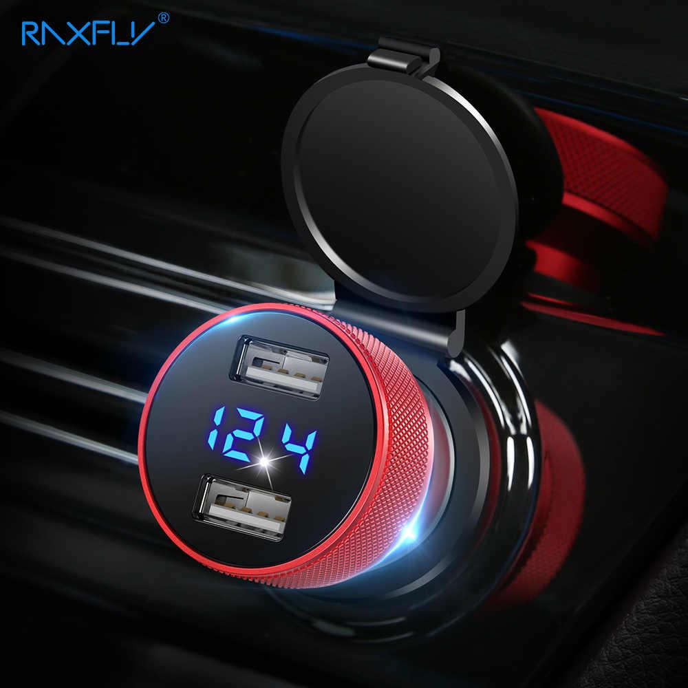 Chargeur de voiture RAXFLY pour téléphone portable dans la voiture chargeur USB affichage numérique 5V2.4A Kit de chargeur de téléphone de charge rapide pour Xiaomi iPhone