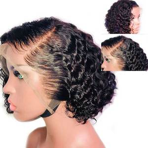 13X6 Deep Part Bob Pixie Cut Wig Preplucked Fake Scalp Malaysian Lace Front Human Hair Wigs Remy Short Curly Wig For Black Women(China)