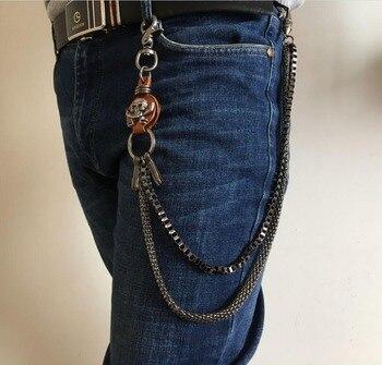10mm nuevo esqueleto fuerte motociclista camionero pantalones clave Jean larga cartera cadena Punk en plata para hombres mujeres 24 pulgadas
