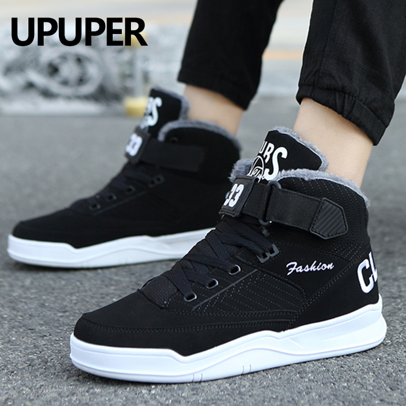 Fashion Winter Men's Shoes Men Comfortable Plush Warm Sneakers For Man Casual Shoes With Fur High Top Snow Shoes Size 38-48