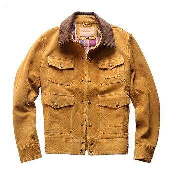 L1928 Read Description! Asian size genuine cow leather jacket genuine cowhide suede leather jacket m65 0003 read description asian size duck feather super warm m51 m65 parka jacket lining