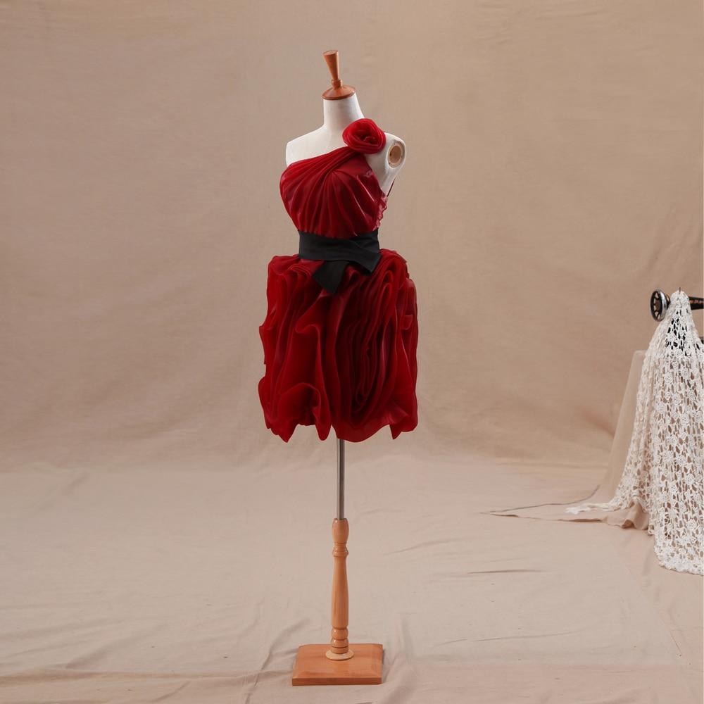 100% Real Sample Burgundy Black Sash One Shoulder Knee Length Homecoming Ruffled Skirt Free Shipping Custom Bridesmaid Dresses