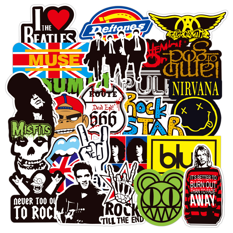100Pcs Rock Music Band Doodle Stickers For Snowboard Laptop Luggage Fridge Car- Styling Vinyl Waterproof Stikers Decal Stickers