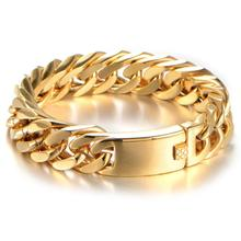 Cool Men Stainless Steel Gold Tone Bracelets Men's Hand Wrist Chain 15mm Width Curb Chain Link Bracelet Fashion Jewelry Gift