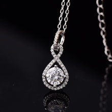 Poetry Of Jew Store S925 silver necklace round 1.00ct D VVS classic necklace send his girlfriend to send the wife gift