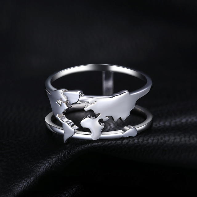 World Map Sterling Silver Ring