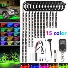 Universal 12Pcs Motorcycle RGB 120LED Neon Under Glow Lights Strip Kit For Universal Motor 12V Plastic RGB LED Strip Lights
