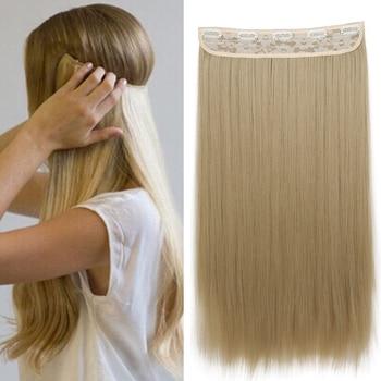Удлинитель волос Azqueen синтетический длинный прямой на 5 зажимах, высокотемпературный хайсл, fibert, золотистый, коричневый, черный