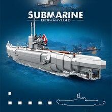 1035pcs Military Series German U48 Submarine Building Blocks Children Creator Sets DIY Educational Toys Kids Birthday Gifts