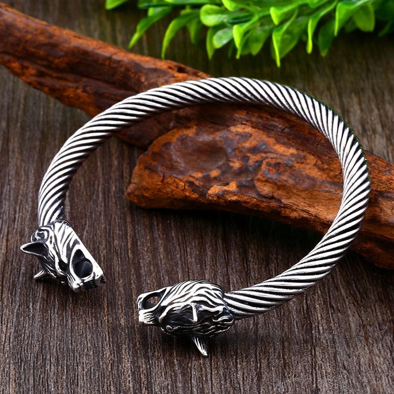 Bracelet acier tête de loup-009G 6
