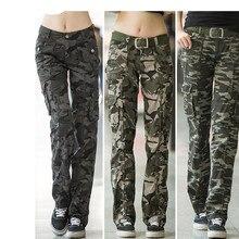 Nữ Tập Luyện Hàng Ngày Quân Đội Ngụy Trang Quần Denim Áo Liền Quần Nữ Thẳng Nhiều Túi Quần Pantalon Femme