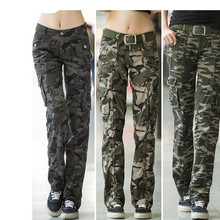 Women Workout Casual Military Camouflage Cargo Jeans Pants Denim Overalls Ladies Straight Multi pocket Trousers Pantalon Femme