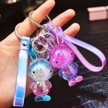Super Cute Crystal Bubble Bunny Keychain Cartoon Colorful Rabbit Key Chain for Women Bag Pendant car Key Ring Girl friends gift(China)