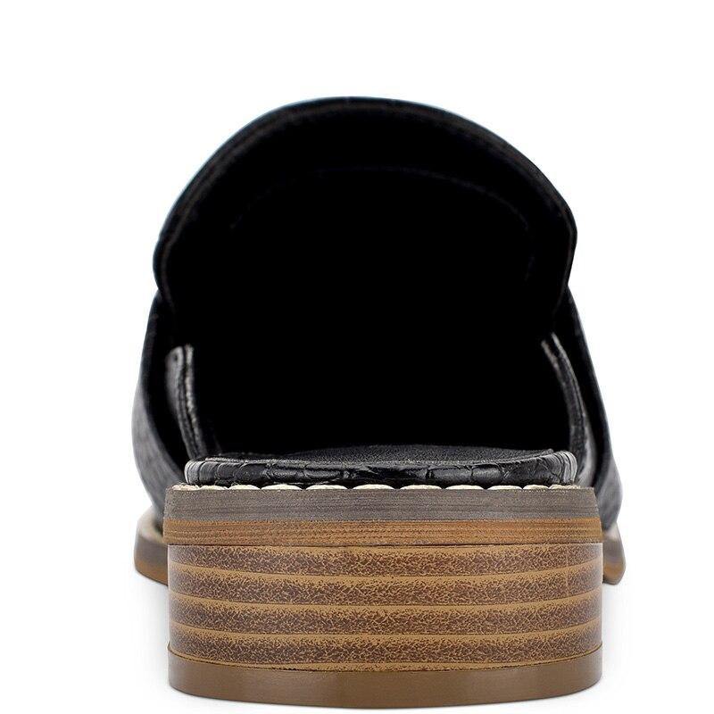 Croc en relief femmes Mules à l'extérieur pantoufles chaussures bas talons épais grande taille 14 16 dames mode mocassins Cascual Mature Shofoo - 4