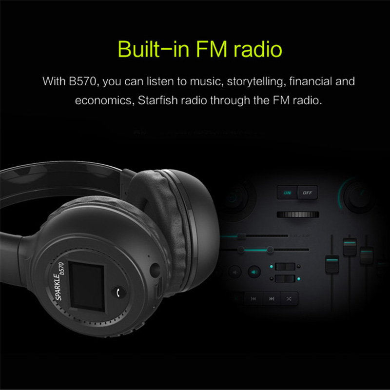 lowest price UNITOP ZEALOT B570 Wireless Bluetooth Headphones Stereo Earphones LED screen Music Headset TF  Support SD Card For Mobile Phone