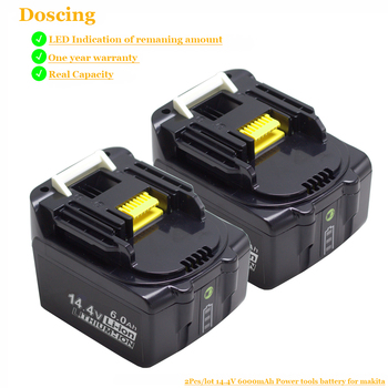 Doscing For Makita BL1430B 14.4V 6000mAh Li-ion Rechargeable Bateria with LED Power Tools Replacement Battery BL1430 BL1415