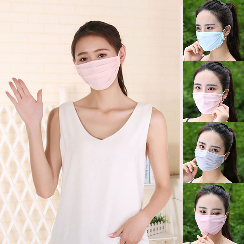 1 Pc Women Pure Color Ice Silk Mouth Mask Washable Reusable Summer Thin Breathable Mouth Mask High Quality Wholesale