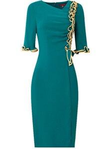 Image 3 - 2019 yeni sonbahar Kadınlar Lüks Tasarım Ünlüler Yay Parti Elbise 3xl Rahat tarzı Ofis Bayan elbise Artı Boyutu Kalem iş elbiseler