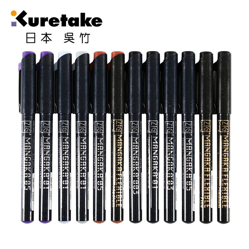 Kuretake Zig Cartoonist Mangaka Outline Pen 003/005/01/02/03/05/08/F/M Tips Black/Violet/Grey/Sepia/Light Blue Colors Available