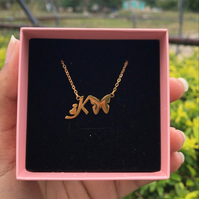 Initial Necklace With Butterfly For Women Stainless Steel Gold A-Z Letters Butterfly Necklace Femme Best Friend Jewelry BFF Gift 3