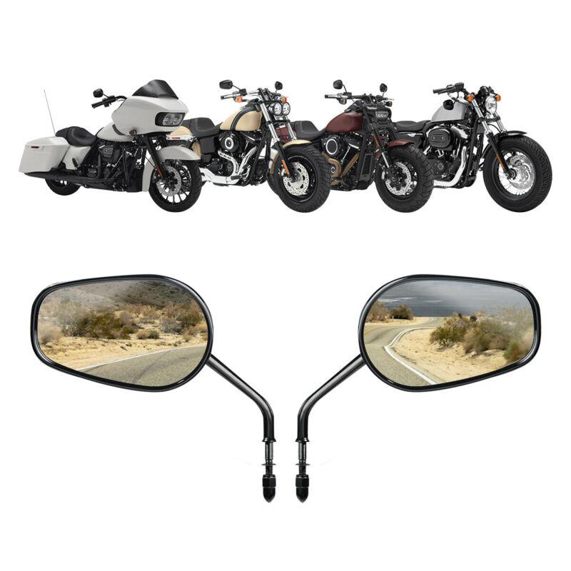 8mm Black Motorcycle Teardrop Rearview Side Mirrors For Harley Sportster Cruiser Chopper