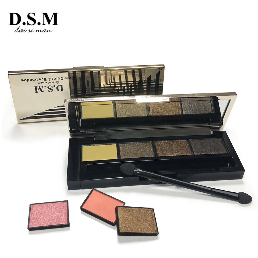 D.S.M Professional Eye Shadow DIY Replaceable Combined 4 Perfect Shades Palette Matte Glitter Colorful Cosmetic Makeup Eyeshadow