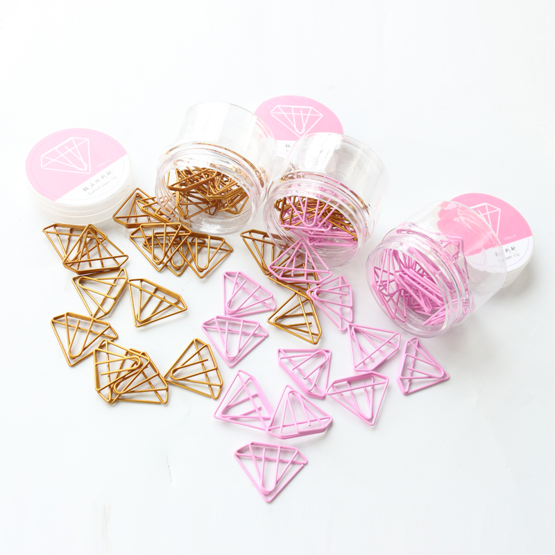 Domikee Cute Kawaii Gold Pink Diamond Shape Office School Index Paper Clips Bookmark Set Metal Memo Organizer Clips Stationery
