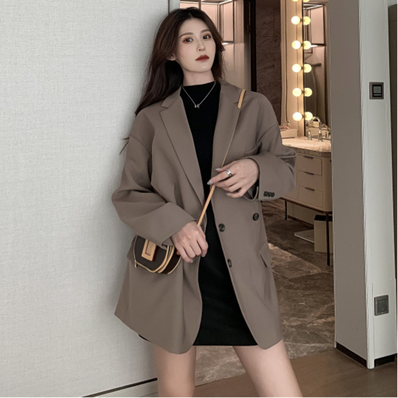 Spring Jacket Women Vintage Oversized Long Blazer Korean Style Ladies Double Breasted Casual Blazer Streetwear