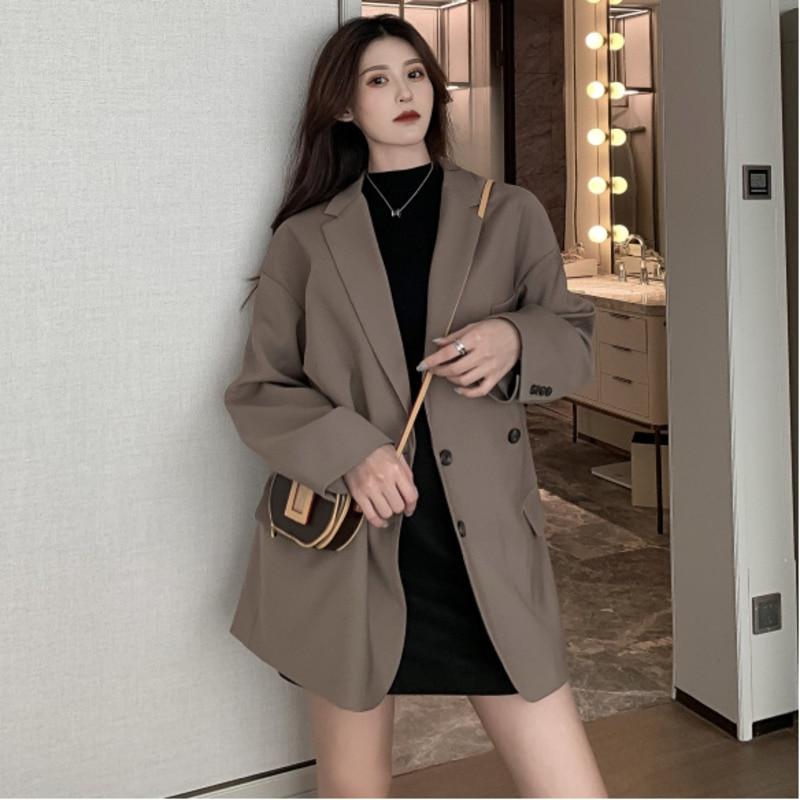 Spring Jacket Women Vintage Oversized Long Blazer Korean Style Ladies Double Breasted Casual Blazer Streetwear