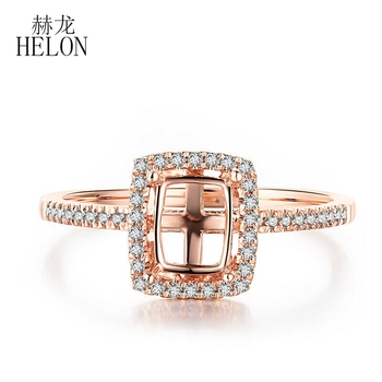 HELON Cushion Cut 5x7mm Real Natural Diamonds Wedding Semi Mount Ring Setting Solid 10K Rose Gold Women Trendy Fine Jewery image