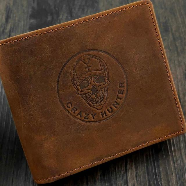 GENUINE LEATHER CRAZY HUNTER SKULL WALLET