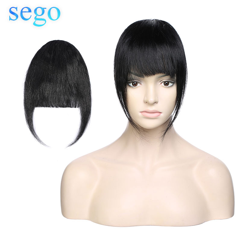 SEGO Straight 100% Human Hair Remy 3 Clip-in Blunt Bangs Sweeping Side Bangs Front Hair Fringes Black Blonde Color 24gram