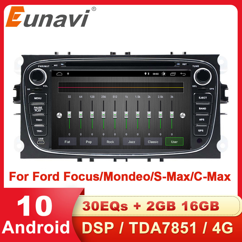 Eunavi 2 Din Android 10 Car Radio dvd for Ford focus 2 Mondeo S-MAX C-MAX Galaxy Transit Tourneo stereo GPS Navigation DSP WIFI(China)