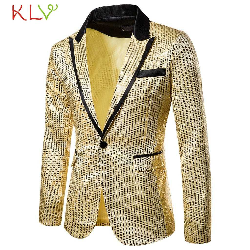 Mannen Pak Jacket Brand New Kleurrijke Pailletten Goud Wit Zwart Blazer Ontwerp DJ Zanger Pak Mode Outfit voor Formele Bruiloft 19Aug