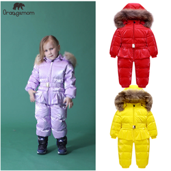 Orangemom winter Jumpsuit big real fur outerwear , warm winter jackets girls clothes . 90% goose down russian winter coats boy