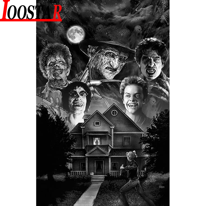 5d diy diamond Painting horror movie slashers, Freddy Leatherface full diamond embroidery Cross Stitch Drill home Decor Gifts image