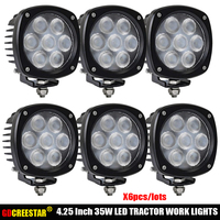 For Agricultural LED Lights New Holland Cab LED Light Kit TLNH8000 35W 4.25x4.25 inch Tractor Led Work lights Headlights x6pcs
