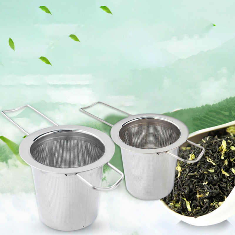 Tea Strainer Tea Infuser Fine Mesh Strainer With Foldable Handle Lid For Hanging On Teapots Cups Mugs For Brewing Coffee Tea